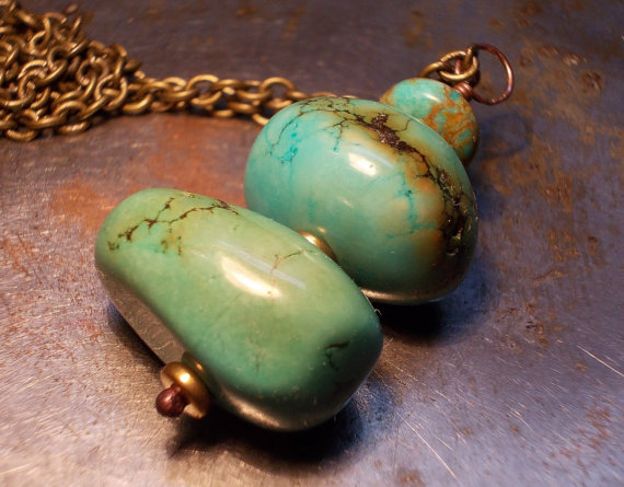 Rustic turquoise necklace, gemstones and brass, Tribal Totem, Huge turquoise nuggets, ethnic primitive unisex chain necklace, blue green